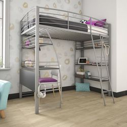 Loft Bunk Bed Over Desk With Mattress and Bookcase with Metal Frame Twin Size Gray With Mattress Included for Sale in Oak Lawn,  IL