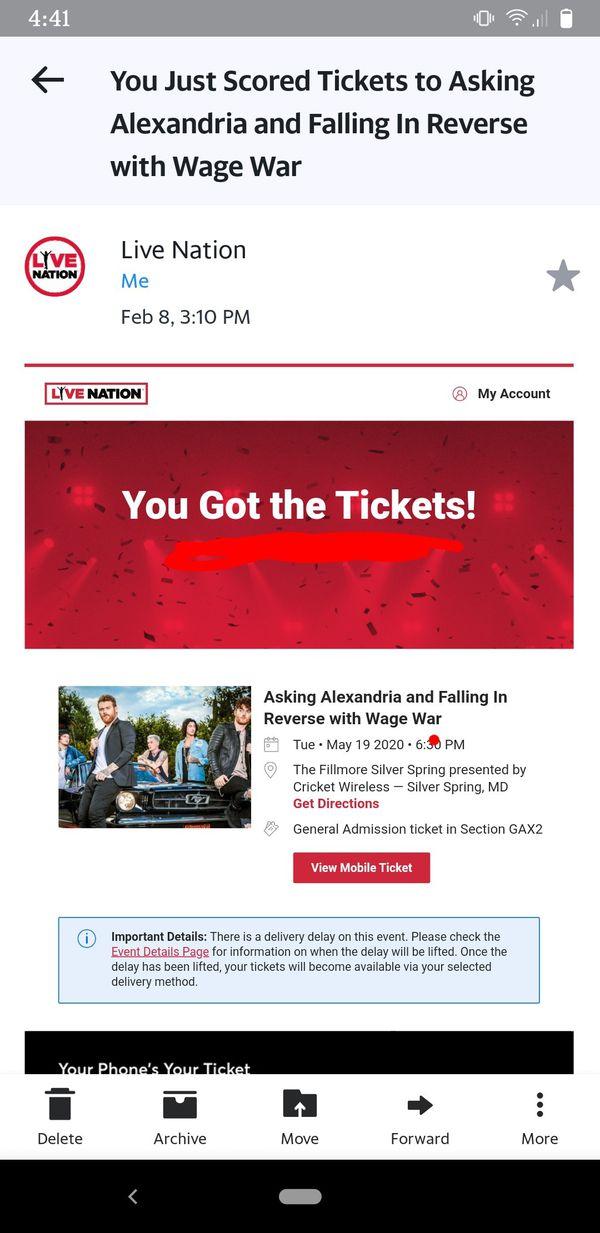 Asking Alexandria/Falling In Reverse Concert Ticket