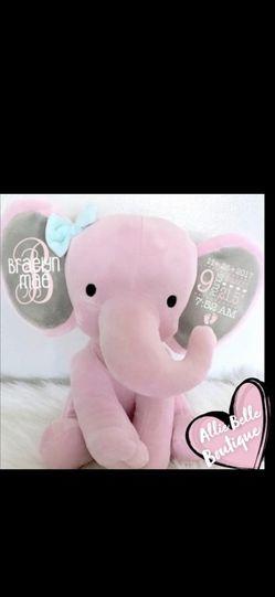 Birth Announcement Elephant,Birth Stat Elephant,Keepsake Elephant,Baby Keepsake,New Baby Gift,Personalized Elephant,Baby Shower for Sale in Manteca,  CA