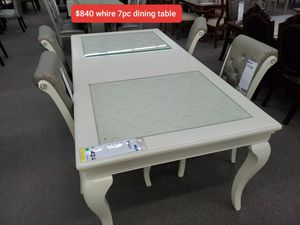 WHITE 7PC DINING SET $50 down payment if financed for Sale in Rialto, CA