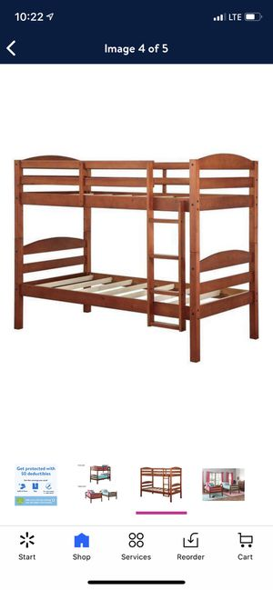 Better Homes & Gardens Leighton Wood Twin-Over-Twin Bunk Bed, Cherry for Sale in Las Vegas, NV