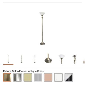 Elegant Designs 71 in. 1-Light Antique Brass Torchiere Floor Lamp with Marbleized White Glass Shade for Sale in Houston, TX