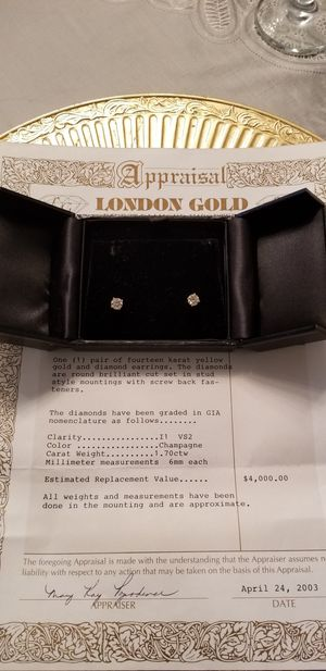 1.70 ctw/ TOTAL CARAT WEIGHT DIAMOND STUD EARRINGS- LONDON GOLD JEWELERS APPRAISAL INCLUDED - Want a very nice gift? (WAS $4000.00) 14k Yellow Gold for Sale in Phoenix, AZ