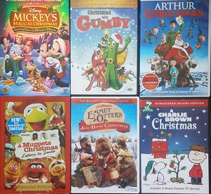 6 Xmas Movie Disney Mickey's Magical Christmas Charlie Brown Muppets Gumby DVD Kids Family Holiday Movie Lot for Sale in Tampa, FL