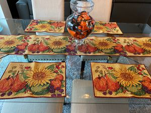 Beautiful Fall Table Runner and 4 placemats for Sale in Plymouth, MI
