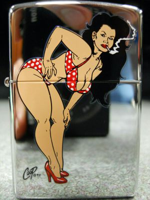 Zippo Coop Polka Dot Bikini Girl Smoking Devil Rockabilly Lighter 2004 NEW Hot Rod for Sale in San Fernando, CA
