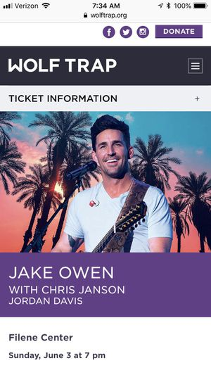Covered seats (2) to Jake Owen concert at Wolftrap tonight for Sale in Chantilly, VA