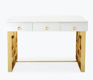 Brand new white high gloss writing desk/ Gold legs NEW IN box for Sale in San Jose, CA