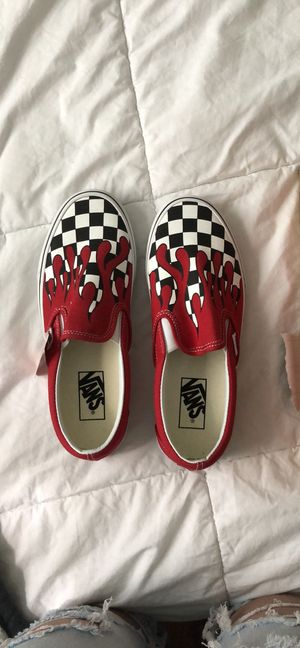 Vans. Red Drip With Black And White Checkers. BRAND NEW WITH TAGS AND BOX for Sale in Tampa, FL