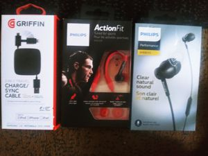Griffin and Phillips earbuds, charger and sync for Apple and active earbuds for Sale in Columbus, OH