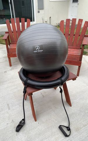 60cm Exercise Ball Chair with Resistance Band and Stability Ring for Sale in View Park-Windsor Hills, CA