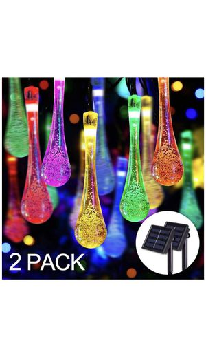 (2 Pack )30 LED Water Drop Solar Powered String Lights Waterproof, 21.3ft 8 Modes Fairy Garden Decorative Light for Outdoor Indoor Patio Christmas T for Sale in Corona, CA