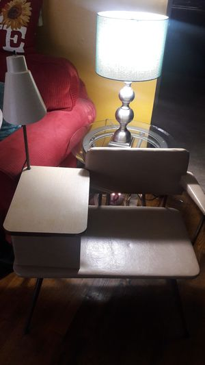 This is an Antique table & light chair in great condition, the paper you see on it was the old couple's emergency countact numbers can be removef for Sale in Venice, IL