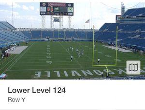 Jacksonville Jaguars vs New England Patriots Game Ticket Sec 124 for Sale in Jacksonville, FL