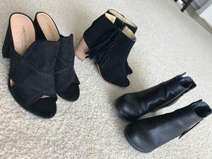 3 Pairs of Black Heels, 2 booties & 1 Suede Pump - 6/6.5 for Sale in Murrieta, CA