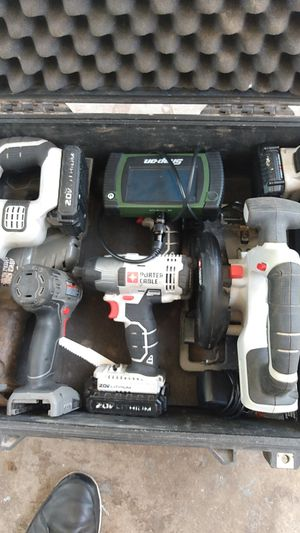 Portor cable and snapon power tools with charger and 3 batteries in the pelican 1560 case for Sale in Oklahoma City, OK