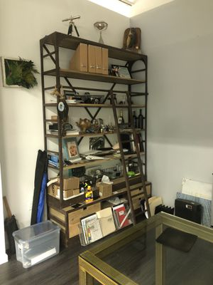 Rod iron and wood wall shelf unit with ladder. for Sale in Brooklyn, NY