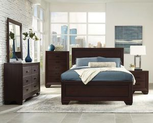 Beautiful new 5 piece Queen bed set only 660$!!! (1 bed, 1 nightstand, 1 mirror, 1 dresser, 1 chest) for Sale in Oakland, CA
