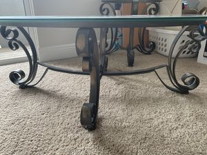 Glass and Metal Coffee table with matching end tables for Sale in Orlando, FL