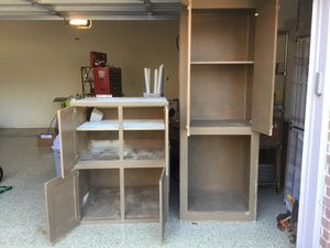 """Heavy wood, strong garage cabinets with adjustable shelves. 2 individual box wall cabinets 36""""w x 24""""h x 24""""d. One tall cabinet 30""""w x 84""""h x 22""""d. for Sale in Flower Mound, TX"""