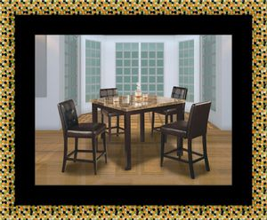Marble tall table with 4 leather chairs for Sale in Washington, DC