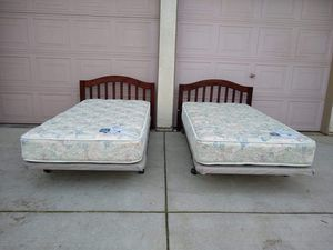 2 Matching Twin Beds (Serta Mattresses, Platform Boxsprings, Metal Bed Frames, Solid Wood Headboards) camas/colchones for Sale in Modesto, CA
