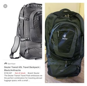 Deuter transit 65l travel backpack for Sale in New Haven, CT