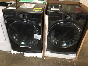 LG black stainless steel front load washer and dryer set for Sale in Pasadena, TX