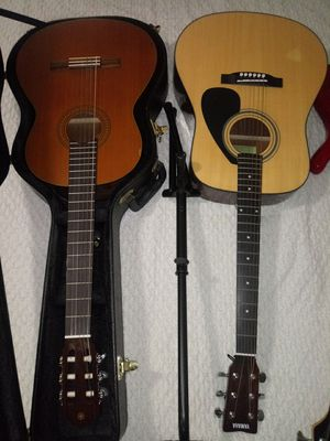 2 Yamaha acoustic Guitar & 1 Arbor bass electric guitar Excellent condition for Sale in Herndon, VA