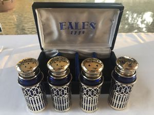 Eales 1779 Set of Four Cobalt Salt and Pepper Shakers SILVERPLATED for Sale in Brooksville, FL