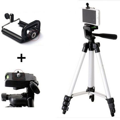 """46"""" Portable Professional Adjustable Camera Tripod Stand Mount + Cell Phone Holder for Apple iPhone and Android phones"""