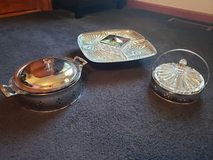 1960's Serving Dish Lot (Spinning Tray, Candy Dish, and Pyrex Serving Dish) for Sale in Barrington, IL