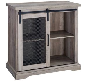 """32"""" Farmhouse Mesh Door Accent TV Stand - Grey Wash for Sale in Hayward, CA"""