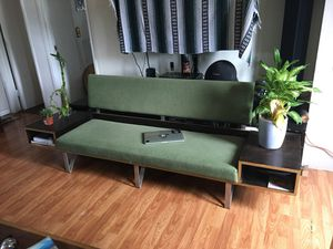 Mid century style sofa with side table/shelfs for Sale in San Diego, CA