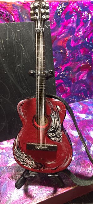 Mini guitar acoustic w leather strap ,guitar stand and platform for Sale in MIDDLE CITY WEST, PA
