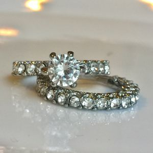 Gold plated rhinestone ring band wedding engagement ring band set size 7 for Sale in Silver Spring, MD