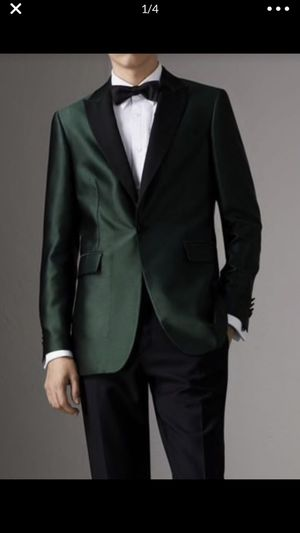 $1,995 Burberry Mens Soho Jacquard Evening Jacket Forest Green Size 46R, 52R for Sale in Seattle, WA