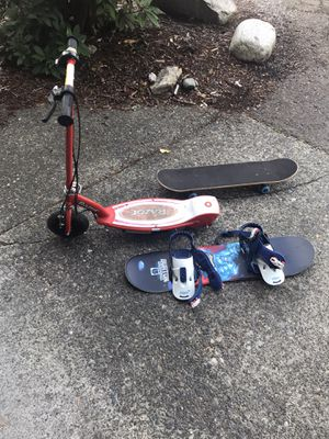 Kids snowboard, scooter, skateboard, for Sale in Puyallup, WA