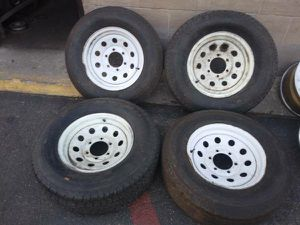 Old 6 lug trailer rims with tires, chevy, gmc, more rollers for Sale in Montebello, CA