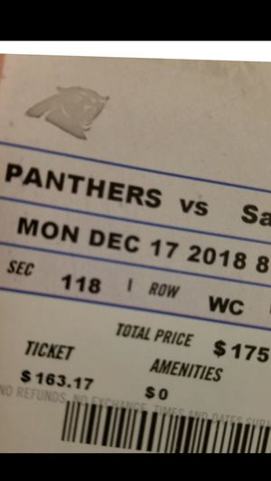 Carolina panther tickets/saint game for Sale in Cary, NC