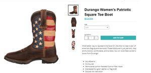 Durango Women's Patriotic Square Toe Boot - Size 7 for Sale in Washington, DC