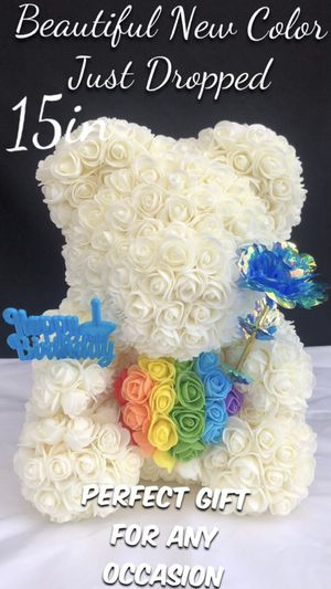 Beautiful New Color 🌈 🐻🌹Rose Bear 15in Tall. Perfect Gift 🎁. Roses Are Made Out Of Foam. for Sale in Lynwood, CA