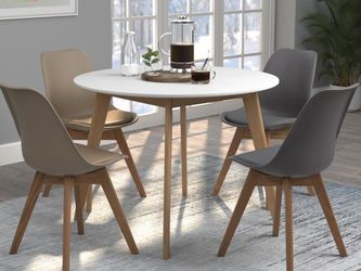 Round Dining Table Solid Oak Round Taperd Leg and Mid Century Modern Style in Matte White And Natural Oak for Sale in Arcadia,  CA