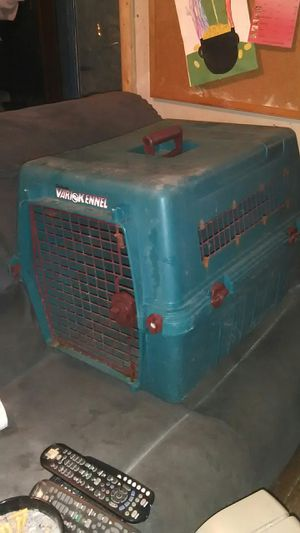 Large green plastic dog travel kennel cage for Sale in Cleveland, OH
