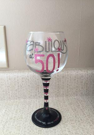 50th Birthday Wine Glass for Sale in East Wenatchee, WA