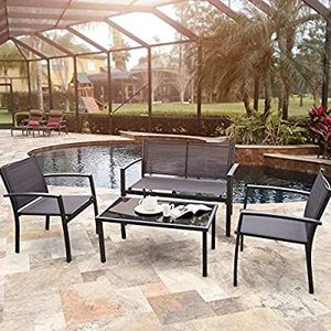 Black Loveseat Tea Table 4 Pieces Patio Outdoor Furniture Set for Sale in San Francisco, CA