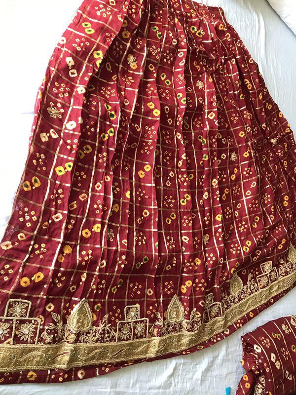 Wedding chania choli - crop top, long skirt, scarf