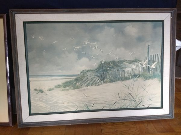 Sand beach painting with wooden frame