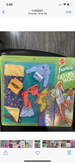 Vintage Barbie Francie outfit in package Get Ups 'N Go 1973 Rough & Ready Comfy Camp Ins for Sale in Homer Glen, IL