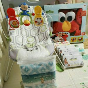 Baby Bouncer and Tummy Time Elmo (3 Items For $25) + Free Diapers for Sale in Los Angeles, CA